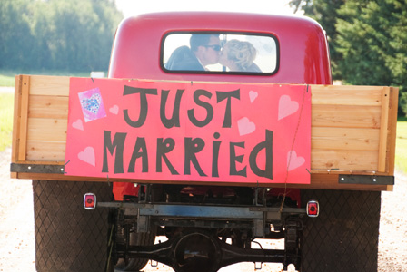 Just Married sign on truck