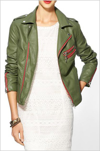 Green vegan leather moto jacket by RD Style. (Piperlime, $98)