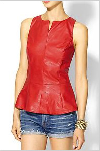 Red vegan leather peplum top by Tinley Road. (Piperlime, $79)
