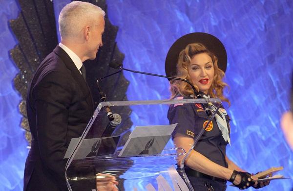 Madonna gives Cooper GLAAD award (& a kiss)