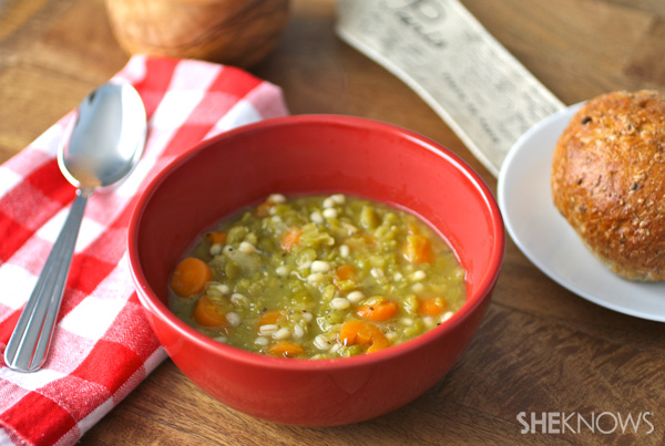 Green pea and barley soup