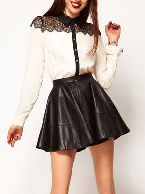 Full Skater Skirt in Leather