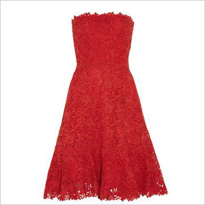 Valentino strapless cotton macrame lace dress