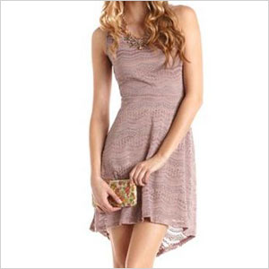 charotte russe open back hi-low crochet dress
