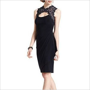 xscape sleeveless lace draped dress
