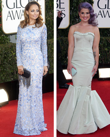 Nicole Richie and Kelly Osbourne wearing pastel dress at the 2013 Golden Globes