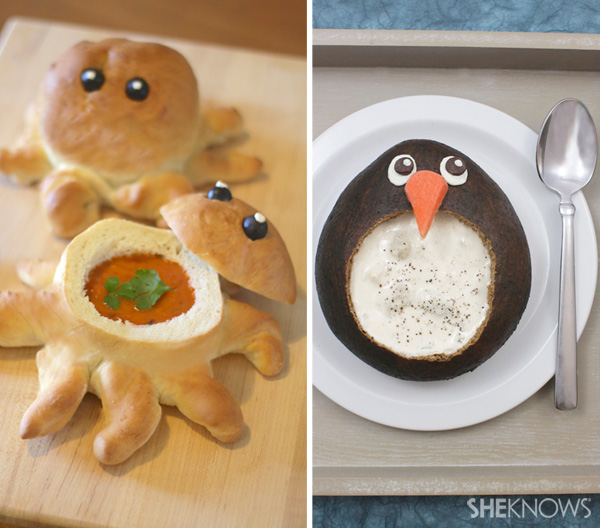 Octopus and pengquin bread bowl recipe