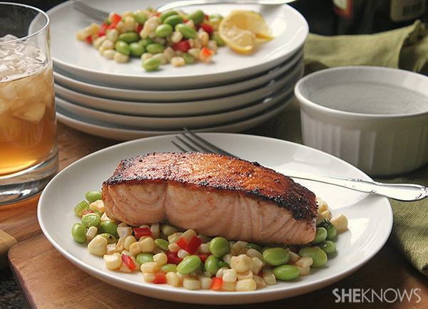 Pan-seared salmon with corn and edamame succotash