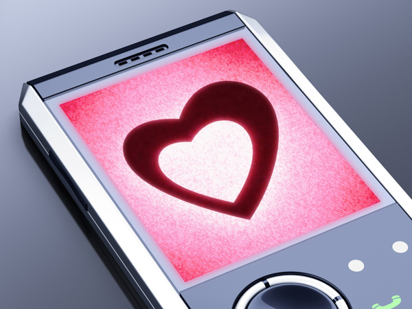 Heart on phone