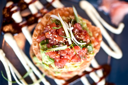 Raw Ahi Tuna and guacamole tostadas