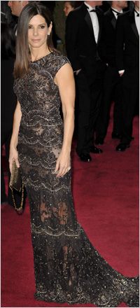 Sandra Bullock wearing lace gown