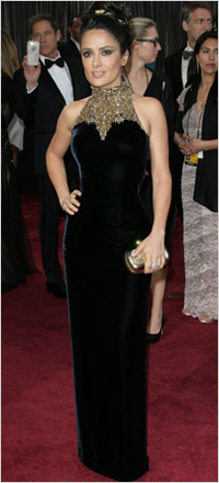 Salma Hayek wearing velvet dress