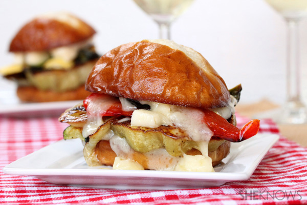 Roasted Veggie and Brie Sliders