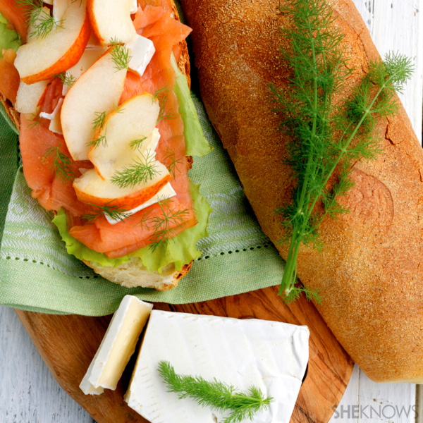 salmon, pear and brie panino