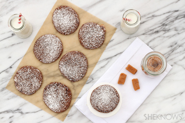 Chocolate crinkle cookies stuffed with caramel