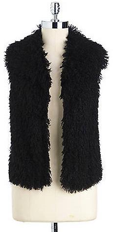 T. Tahari Faux-Fur Open-Front Vest