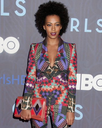 Solange wearing tribal print to Girls premiere