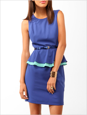 Duo-toned peplum dress