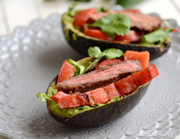 Save carbs by stuffing fajitas into avocados!