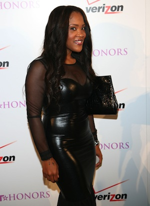 Tia Norfleet reps NASCAR at BET event.