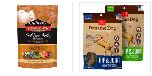 Evanger's Grain-Free Meat Lover's Medley with Rabbit Dry Food (evangersdogfood.com, $43) and Cloud Star Dynamo Treats (cloudstar.com, $7)