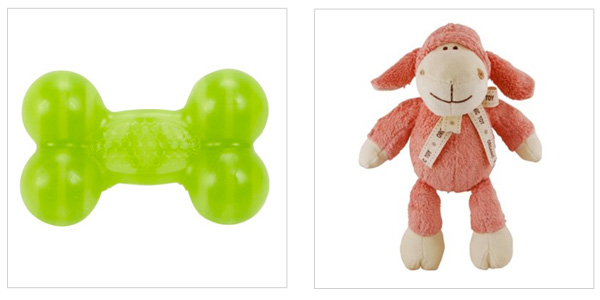 JW Pet Megalast bone made of recyclable plastic (wag.com, $5) and Simplyfido Lolly Lamb made of organic cotton (Amazon.com, $12)