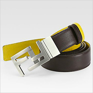 Fendi yellow leather belt