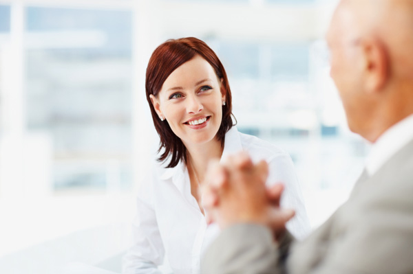 Woman having discussion with boss