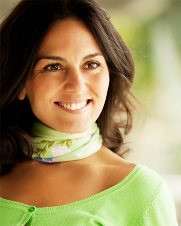 Woman wearing green scarf