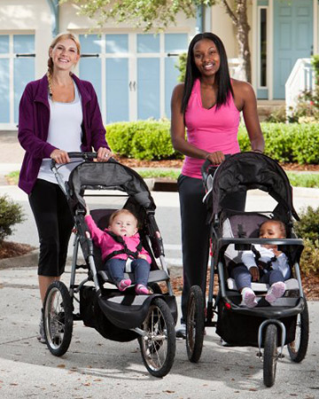 moms running with strollers
