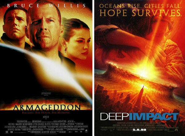 Armageddon (released July 1, 1998) and Deep Impact (released May 8, 1998)
