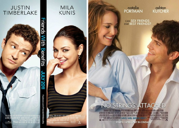Friends with Benefits (released July 22, 2011) and No Strings Attached (released Jan. 21, 2011)