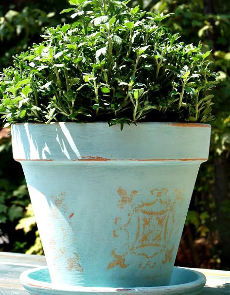 Stenciled Terracotta Pot