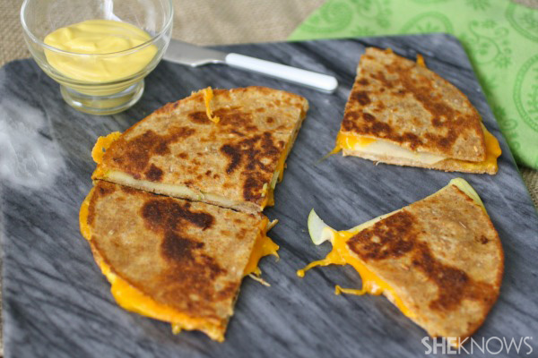 Apple and cheddar quesadillas with honey mustard spread