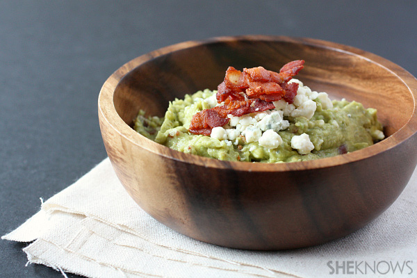 blue cheese and bacon sriracha roasted tomatillo and classic guacamole ...