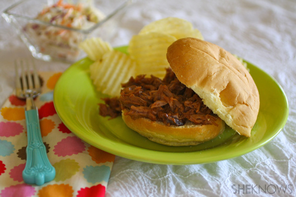 Barbecue pulled pork sandwiches