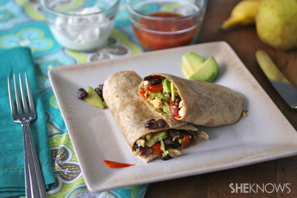Meatless Monday Tofu and black bean breakfast burritos