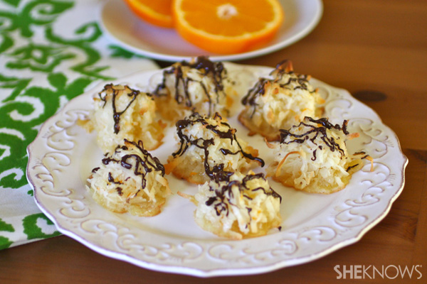 Chocolate drizzled coconut-orange macaroons