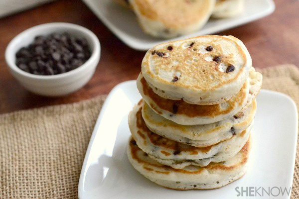 Chocolate chip mini pancake stacks