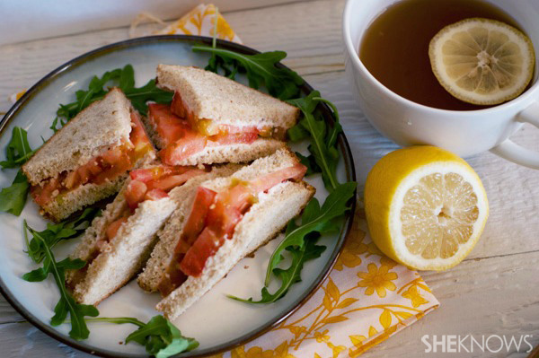 Fresh tomato tea sandwiches
