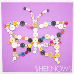 Button butterfly canvas - Baby nursery decor