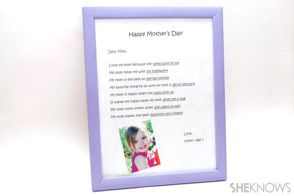 Mother's Day framed letter