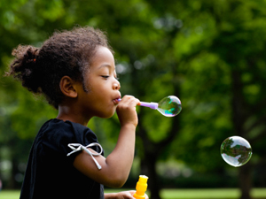 Blowing bubbles on Earth Day