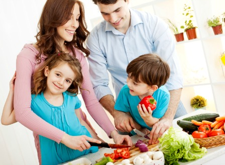 Family preparing healthy dinner