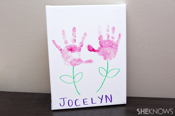 Mother's Day craft - Handprint flower canvas