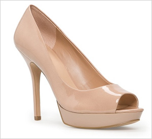 Nude peep-toe pumps