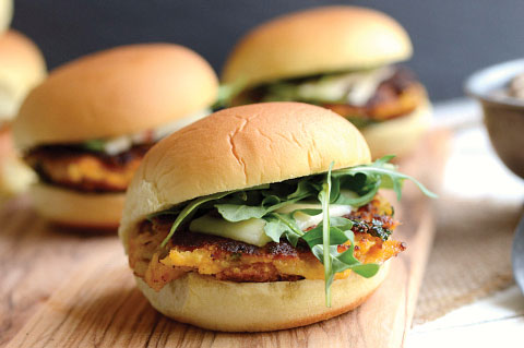 Smashed chickpea and sweet potato sliders