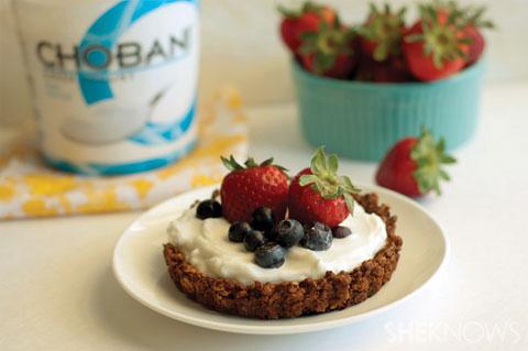 Fruit and yogurt in granola bowls