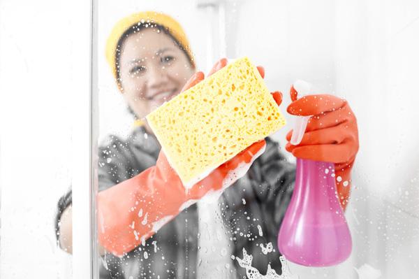 Woman clean shower
