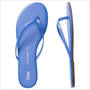 Blue leather flip flop